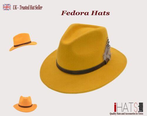 UK iHATSLondon Unisex Fedora Hat Long Brim Supreme Quality Felt Indiana Jones