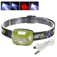 Super Bright Xpe+2led Mini Headlamp Head Light Torch Built-in Battery W/usb Line
