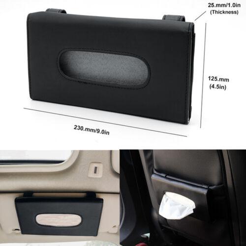 Auto Car Sun Visor Napkin Paper Tissue Box// Holder Accessories Black Pu Leather