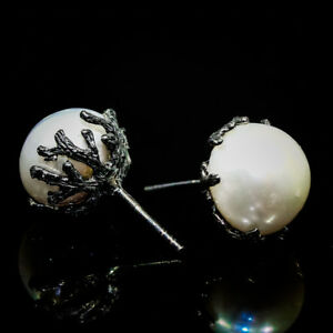Aniversary-Gift-Natural-14mm-White-Pearl-925-Sterling-Silver-Earrings-RVSE3