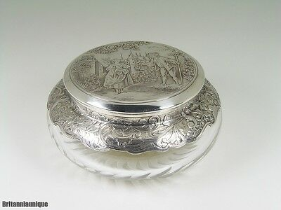 DIVINE 1800's French Etched Sterling Silver & Baccarat Crystal Powder Vanity