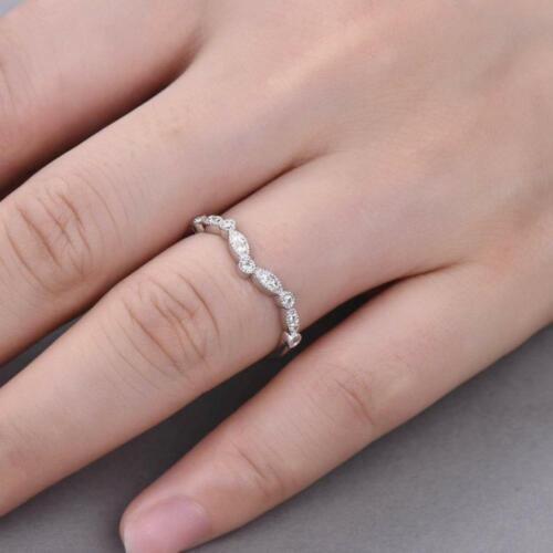 1.00Ct Round Diamond Curved Wedding Anniversary Band Ring 14k White Gold Over