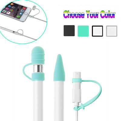 1PC Pencil Cap Holder /& Nib Cover /& Lightning Cable Adapter Tether  For iPad