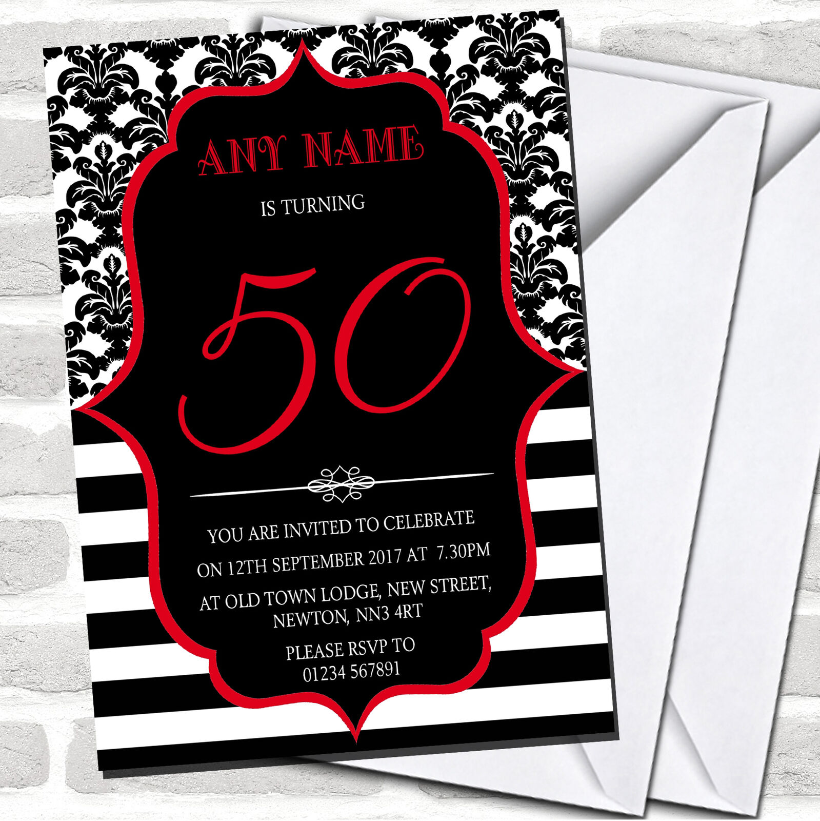 Vintage Damask Rot 50th Birthday Party Invitations