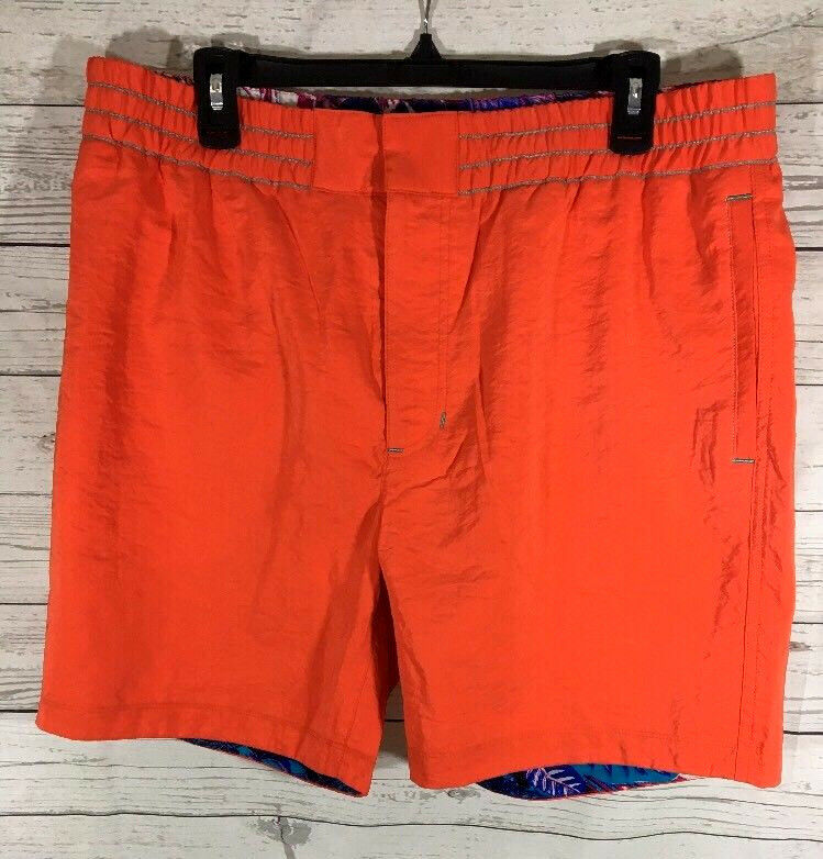 Robert Graham Starboard Woven Swim Trunks Board Shorts Mens orange Size 36