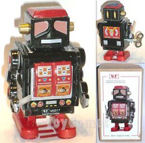 MS517-Black-Robot-Retro-Clockwork-Wind-Up-Tin-Toy-w-Box