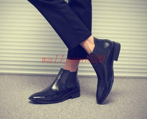Boots punta Dress pelle Pull On Formal Shoes con Ankle in Chelsea a Uomo Top punta Low PqwnSYF6p