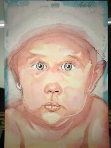 ORIGINAL-Malerei-PAINTING-baby-kind-portrait-contemporary-art-A4-BILD-PORTRAT-OM
