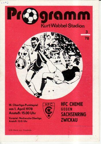 BSG Sachsenring Zwickau OL 77//78  HFC Chemie