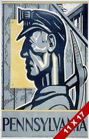 Vintage Pennsylvania Coal Miner Mining Mine Industry Poster Retro Wpa Art Print