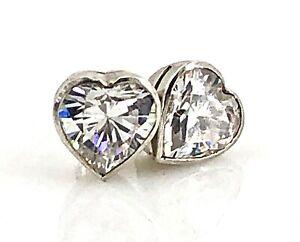 Cubic-Zirconia-Heart-Sterling-Silver-Stud-Earrings-Vintage