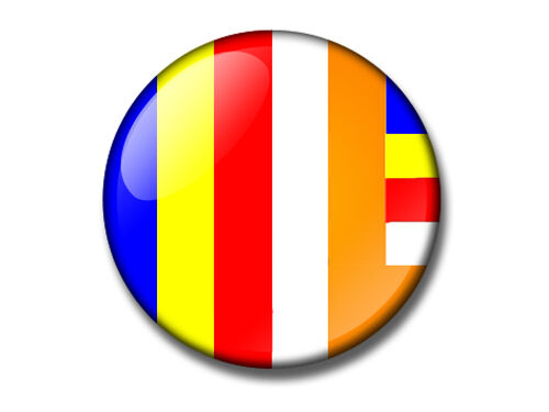 dharma buddhism BUDDHIST FLAG 25mm button badge Kagu