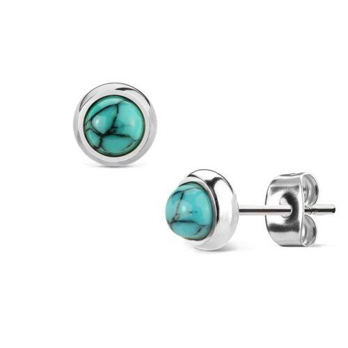 Boucles d/'oreilles en acier chirurgical 316L 6mm pierres turquoise //