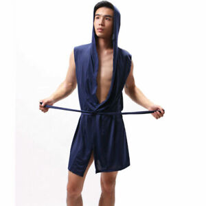 Men-Bathrobe-Ice-Silk-Hooded-Lounge-Sleepwear-Home-Men-039-s-Nightgown-Pajamas-Top