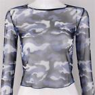 Women's Camouflage Sexy See Through Mesh Long Sleeve Crop Top Sheer Cropped Tops