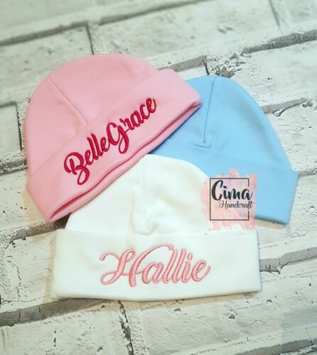 Add Any Name Personalised Embroidered Baby Beanie Hat Baby Girl Boy Gift
