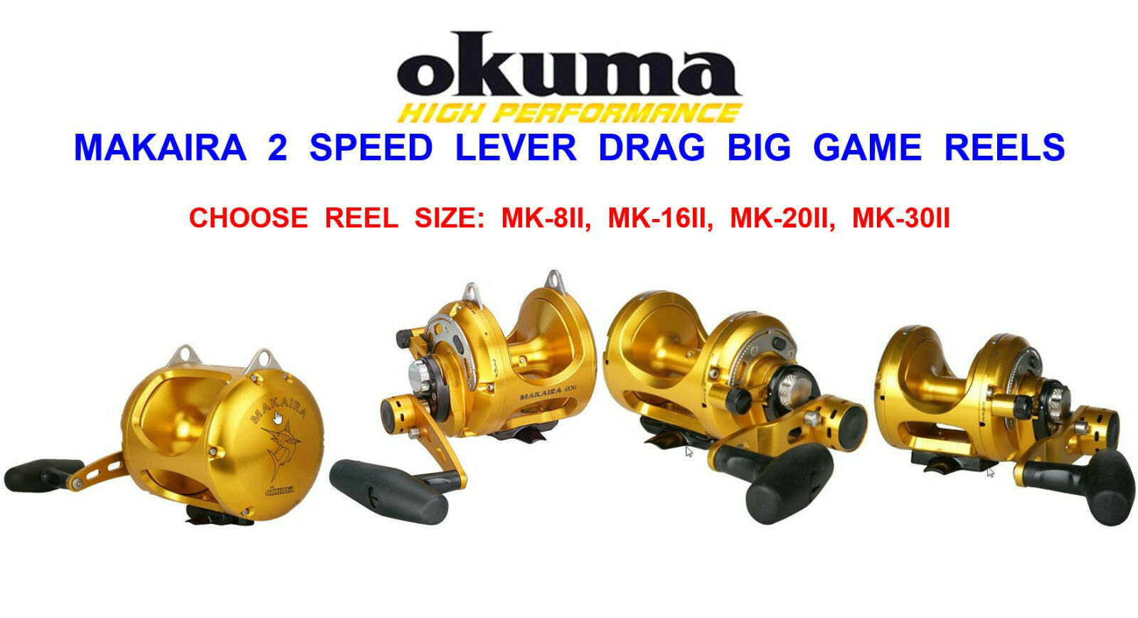 OKUMA MAKAIRA BIG GAME 2 SPEED LEVER DRAG MULTIPLIER REEL SEA BOAT ROD FISHING