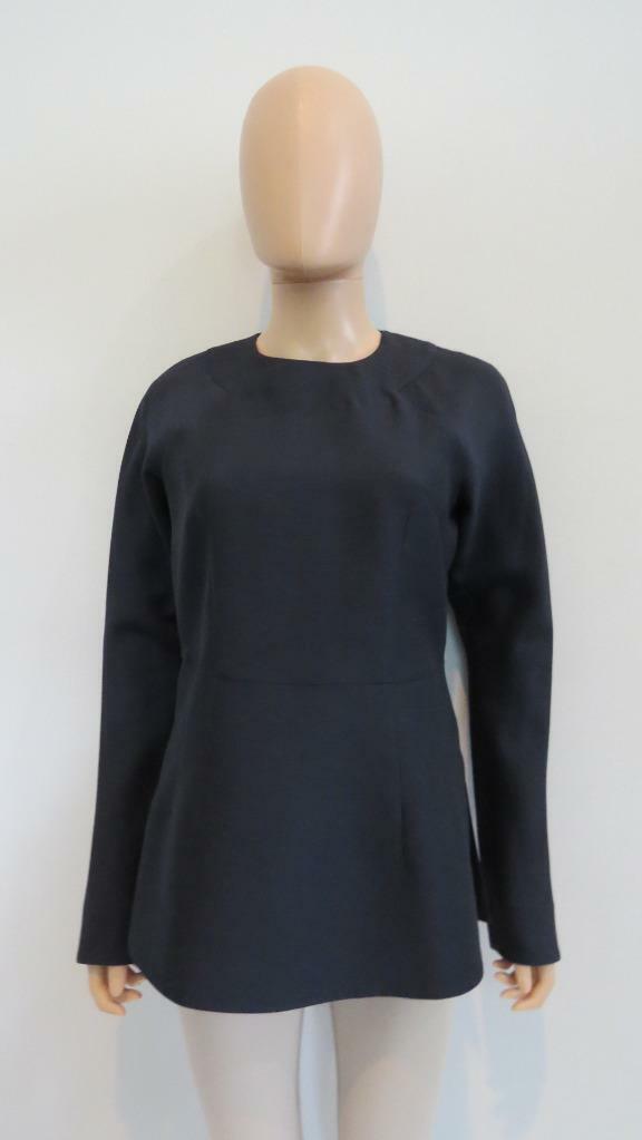 Marni Navy Wool Silk Peplum Long Sleeve Top Size 40