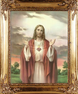 THE SACRED HEART OF JESUS FRAMED PICTURE STATUES CROSSES AND CANDLES LISTED