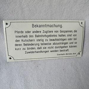 Emailschild-Emaille-Schild-Bekanntmachung-Eisenbahn-Betriebsamt-20x10cm