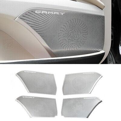 4PCS Black titanium Inner Door Audio Speaker Cover Trim For Toyota Camry 2018