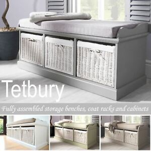 Image Is Loading Tetbury Bench With 3 Storage Baskets Sturdy Hallway
