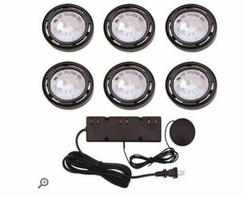 Commercial Electric 6-Light Under Cabinet Black Puck Kit w// 200Watt Touch Dimmer