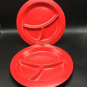 2 Pottery Barn Kids Red Divided Plates 10 5 Quot Melamine