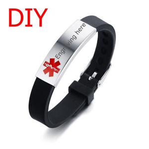 Men-Women-Medical-Alert-ID-Black-Silicone-Bracelet-Wristband-DIY-Free-Engraving