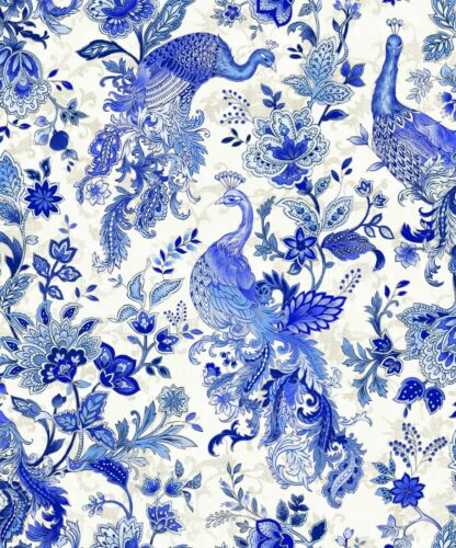 PEACOCK Fabric Fat Quarter Cotton Craft Quilting PAISLEY Silver Blue White