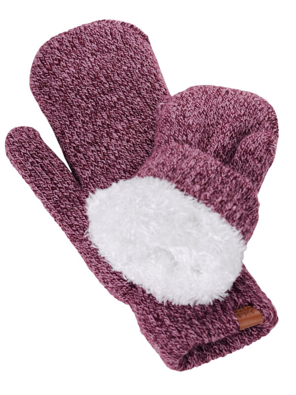 New! D&y Women's Soft Cozy And Warm Fuzzy Lining Two Tone Mittens Exquisite Craftsmanship;