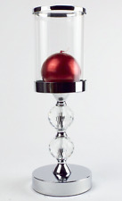 Candle Holder With Glass Shade And Two Crystal Decorations On The Stem