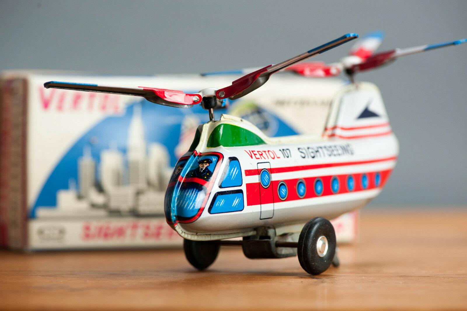Antique De Estaño Juguete Japón helicóptero avión japonés en Caja verdeol Turismo