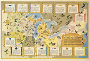 Map Great Lakes Region Native American Indian Tribes Ta-Non-Ka\'s ...