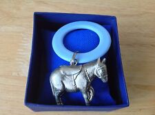 Antique Silver Plated Donkey Rattle/ Celluloid Teething Ring - Christening Gift