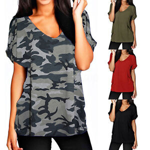 0e95f654f74 Plus Size S-5XL Womens Summer Tops V Neck Loose T Shirt Casual Baggy ...