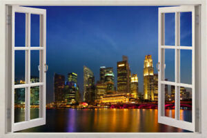 Details about Singapore skyline 3d Window View Decal Room decor Wall  Stickers Removable Decal