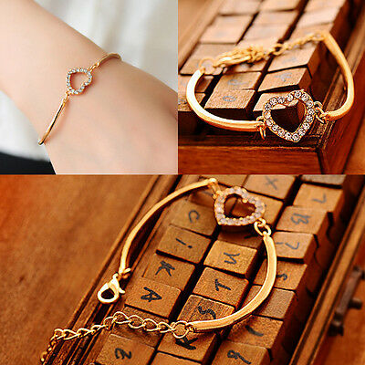 Chic Cute Lady Love Heart Hand Chain Link Gold Bracelet Bangle Fashion for Girls