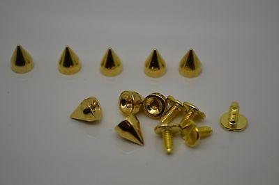9/10mm Golden Metal Bullet Studs Cone Punk Spikes Spots Rivet Leathercraft