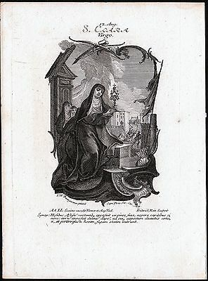 Saint Clare of Assisi - Incisione museale XVIII Santa Chiara d'Assisi