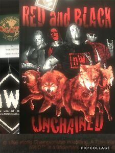Vtg-1998-nWo-Red-Black-UNCHAINED-LUGER-NASH-STING-KONNAN-T-Shirt-XL-46-034-Wolfpac