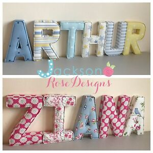 Details About Nursery Letters Wall Art Handmade Fabric Name Personalised Boy