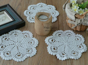 7-034-Round-White-Hand-Crochet-Doily-Coaster-Floral-French-Country-Wedding