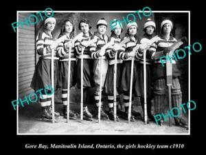 OLD-LARGE-HISTORIC-PHOTO-OF-THE-GORE-BAY-GIRLS-ICE-HOCKEY-TEAM-1910-CANADA