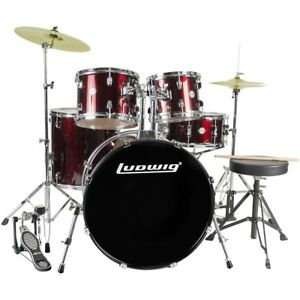 new ludwig lc175 accent drive 5 piece complete drum set with cymbals wine red 641064916755 ebay. Black Bedroom Furniture Sets. Home Design Ideas
