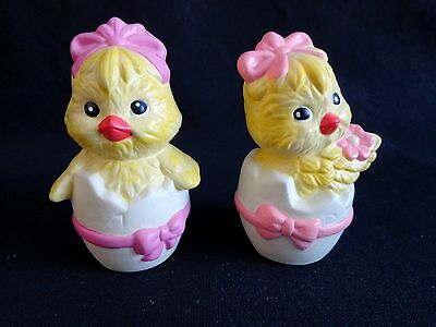 """Cracked Egg Chick Figurine 2.5"""" Set of 2 Girls Pink Purple Bows"""