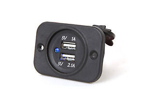 MARINE BOAT RV TRAILER AUTO BUS MOTORCYCLE WATERPROOF DUAL USB SOCKET CHARGER