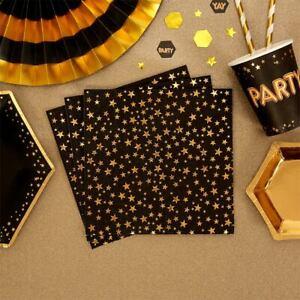16-Black-amp-Gold-Glitz-Star-Napkins-33cm-Ladies-Birthday-Party-Tableware-Supplies