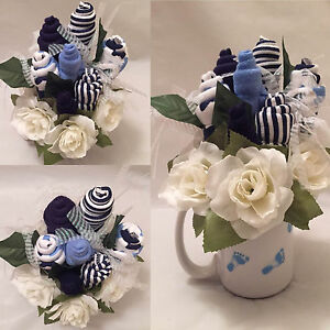 Baby Boy Wash Cloth Flower Arrangement Ebay