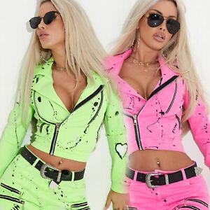 By-Alina-Mexton-Damenjacke-Jeansjacke-Kurze-Jeans-Jacke-Neon-Rosa-Gruen-XS-M